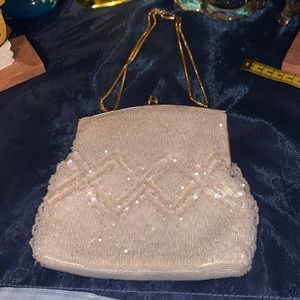 Fabulous beaded cream and gold vintage bag